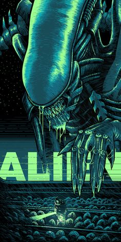"Alien by  Luke Preece / Facebook / Twitter / Instagram / Store 18"" x 36"" screen print with fluorescent inks, edition of 50. Available HERE. Part of the Blacklight art show at Hero Complex Gallery."