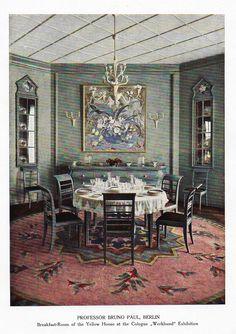 "Color Scheme Print - 1923 - """"BERLIN - BREAKFAST ROOM"""" - Decorative Lithograph"