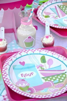 A Very Sweet, Cupcake Baking Birthday Party by Bird's Party