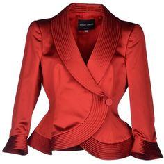 Giorgio Armani Blazer (3.975 VEF) ❤ liked on Polyvore featuring outerwear, jackets, blazers, coats, coats & jackets, brick red, three quarter sleeve blazer, 3/4 sleeve jacket, double breasted blazer and red jacket