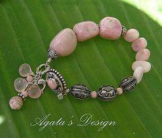 Peruvian Opal Chalcedony Rhodochrosite Sterling Silver Bracelet