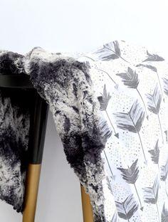 Modern Watercolor Arrow Tribal Faux Fur Baby Blanket Instagram: @loveandlullabies