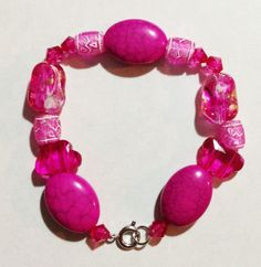 Bright pink handmade bracelet