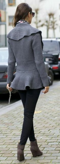 Miss Grey by From Brussels With Love...love thie ribbed low peplum ruffle sweater!