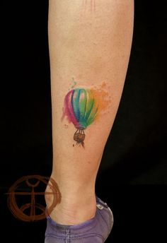 Watercolor hot air balloon tattoo rainbow