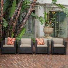 Puerta Outdoor Sofa Set by Christopher Knight Home (dark brown wicker with beige cushions), Patio Furniture (Steel) Outdoor Sofa Sets, Outdoor Wicker Furniture, Outdoor Lounge, Indoor Outdoor, Outdoor Decor, Outdoor Living, Porch Furniture, Wicker Sofa, Outdoor Spaces