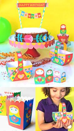 Gorgeous Russian Doll printable crafts and decorations - perfect for a party! https://happythought.co.uk/product/matryoshka-doll-paper-craft-printables
