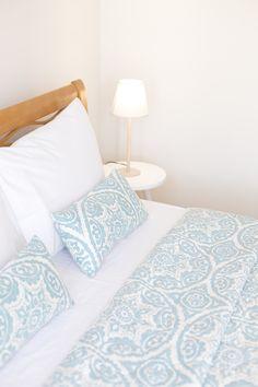 bed linen ideas, blue linen, white linen, cotton linen for vacation rental, luxury linen for villa, bedroom design Linen Bedroom, Linen Bedding, Villa, Comforters, Gems, Luxury, Design, Linen Sheets, Creature Comforts