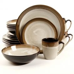 Gibson Elite Couture Bands 16 Piece Dinnerware Set, Brown
