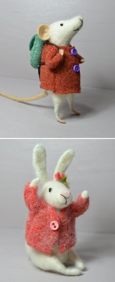 Felting Dreams mouse and rabbit