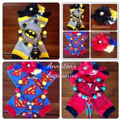 Choose your superhero: -Batman -Superman -Spider-Man Comes with Leg-Warmers, Chunky Necklace, and matching hair-band. Designed for all ages, Batman And Superman, Spiderman, Man Set, Chunky Beads, Superhero Party, Hairbows, 8th Birthday, Sweet Girls, Leg Warmers