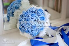 2013 New Wedding Bouquet Blue Rose With Pearl Bride Bouquet Flower Bride Holding Flowers &&u78t from Superstar886,$12.54 | DHgate.com