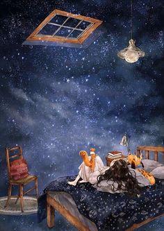 별 내리는 밤 (starry night) te amo art, illustration art 및 anime Art Mignon, Forest Girl, Art Et Illustration, Moon Art, Anime Art Girl, Cute Wallpapers, Cartoon Art, Cute Art, Fantasy Art