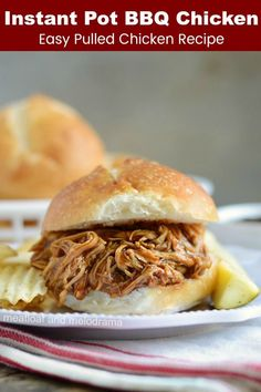 Instant Pot BBQ Chicken is a quick and easy Instant Pot dinner recipe for barbec. - Instant Pot BBQ Chicken is a quick and easy Instant Pot dinner recipe for barbecue pulled chicken t - Shredded Chicken Sandwiches, Pulled Chicken Recipes, Easy Bbq Chicken, Bbq Chicken Sandwich, Shredded Chicken Recipes, Chicken Tacos, Chicken Bbq Sliders, Crockpot Bbq Chicken, Chipotle Chicken