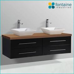 Chadwick 1500 Double Vanity Black Twin Ceramic Basins NEW Stone Top Bathroom Black Vanity Bathroom, Gray And White Bathroom, Wall Mounted Vanity, Laundry In Bathroom, Double Basin Vanity Unit, Vanity Basin, Vanity Units, Timber Vanity, Wooden Vanity