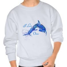 I LOVE ORCAS BLUE PULLOVER SWEATSHIRTS