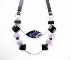 """Bead Necklaces – Amethyst & Agate, Onyx Necklace """"In the spo... – a unique product by Irina-Moro on DaWanda"""