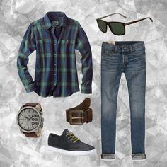 Las camisas de franela son una excelente opción para días nublados, como hoy.  1.- Reloj Diesel-Caballero   http://fashion.linio.com.mx/a/relojdieselmen  2.- Lentes de sol Calvin Klein  http://fashion.linio.com.mx/a/lentesckmen