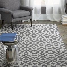 Metallic Diamond Kilim Rug // In Slate, the metallic threads outlining the grey pattern gives it a cool twist.