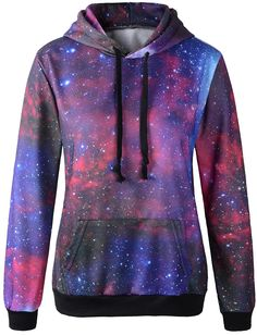 Erlking Women's Printing Red Galaxy Hooded Sweatshirts at Amazon Women's Clothing store: