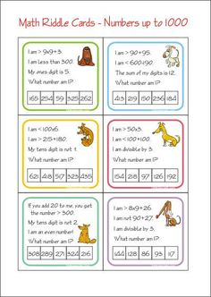 Riddles Make Math Challenging and Fun! Free printable Math Riddle Cards - Mystery number game
