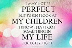 I may not be perfect but when I look at my children I know that I got something in my life perfectly right.