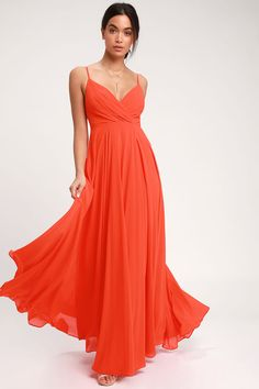 All great love stories start with the Lulus All About Love Coral Red Maxi Dress! Woven fabric with adjustable spaghetti straps shapes a pleated, surplice bodice, fitted waist, and cascading, faux wrap maxi skirt. Hidden back zipper/clasp.
