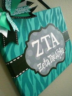 Teal Gray and Black Zebra Print Sign on canvas by KraftinMommy