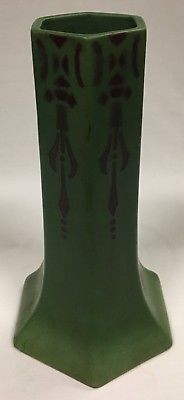 Vintage Lovatts Langley Ware Hexagonal Shaped Art and Crafts Pottery Vase