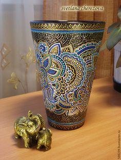"""Купить Ваза """"Золотая сеть"""" - ваза для цветов, ваза декоративная, ваза стеклянная, ваза стекло"""