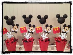 Mickey Mouse Birthday Decorations Set of 4 by RaeofSunshinedesign, $40.00