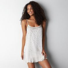 Soft chiffon, Allover sequin and studded detail, Scoop neck..Now $60