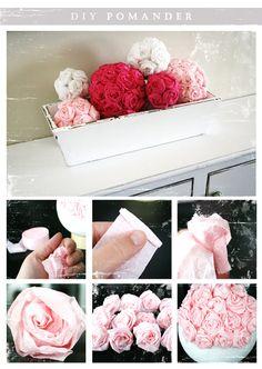 DIY flowers - boule de fleurs en crépon