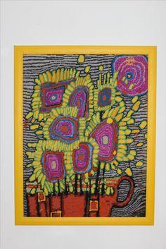 Hundertwasser Sonnenblumen gestickt byPAULA
