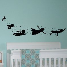 Peter Pan Children Flying Silhouette Fantasy by FabWallDecals