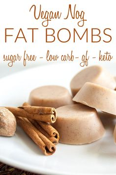 Vegan Nog Fat Bombs (keto, low carb, sugar free, gluten free) - These sweet treats are perfect for the holidays. Whether you are looking for keto recipes or want to add more coconut oil to your diet these are for you. Add them to your coffee for breakfast. #veganketo #ketodiet