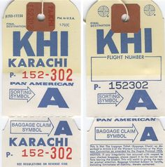 A 1970s Pan Am baggage tag for Karachi, Pakistan.  The photo shows both the front and back of the label.
