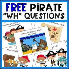 FREE Speech WH questions that are specifically pirate-themed! These decks of WH question cards have engaging images that facilitate further … Pirate Activities, Speech Therapy Activities, Language Activities, Speech Therapy Games, Speech Language Pathology, Speech And Language, What Questions Speech Therapy, Receptive Language, What If Questions