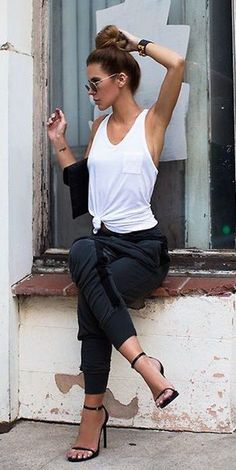 casual black   white outfit / Spring Fashion 2016