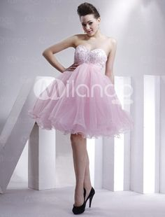 Hübsches rosa ärmelloses Perlen Organza Satin Sommer Cocktail Homecoming Kleid - Milanoo.com
