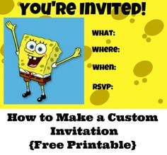 free spongebob invite FREE Printable Spongebob Squarepants Birthday