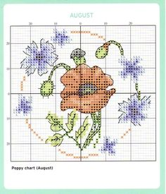August Cross Stitch Chart