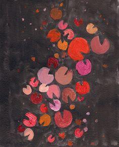 Modern original abstract design orange red black by garimadesigns, $45.00