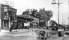 This early-1900s photo looks north from Cook Street and Milwaukee Avenue. Original photo courtesy of the Libertyville-Mundelein Historical Society.