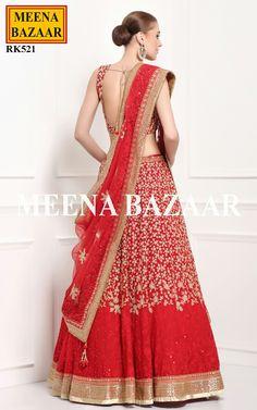 Red Georgette Lehenga Choli @ MeenaBazaar