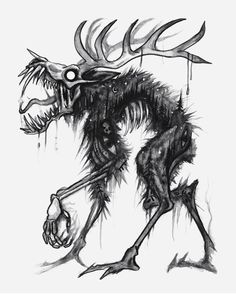 Let's do something mythical ✨ I thought it would be exciting to see your interpretation of my wendigo for my next Creepy Drawings, Dark Art Drawings, Cool Drawings, Dark Creatures, Fantasy Creatures, Mythical Creatures, Arte Horror, Horror Art, Le Wendigo