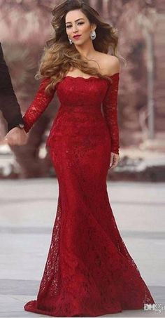 Red Lace Mermaid Prom Dress, Off The Shoulder Pageant Gown Long Sleeve - Thumbnail 2