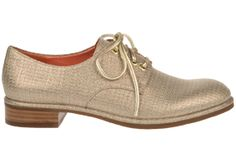 #ViaSpiga lace-up #oxford Ivette in gold metallic fabric.