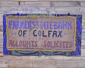 Antique Farmers State Bank Advertising Sign, Hand Painted Canvas Banner, Old Accounts Solicited Sign