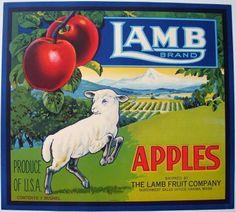 LAMB Vintage Yakima Washington Apple Crate Label